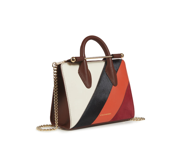 The Strathberry Nano Tote - Patchwork Stripes Chocolate