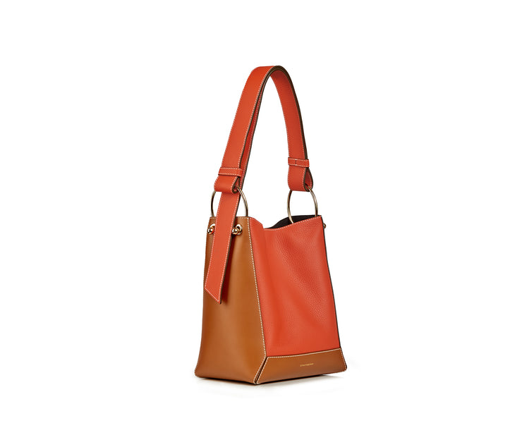 Lana Midi Bucket Bag - Dual Leather Tan/Maple