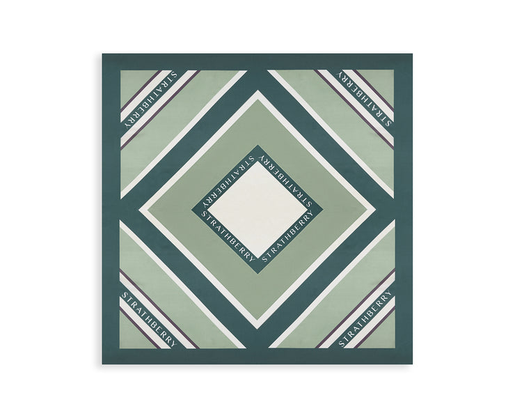 Silk Square Scarf - Stripe Green