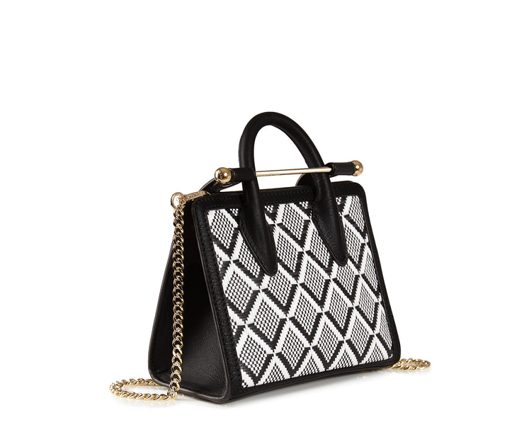 The Strathberry Nano Tote - Monochrome Weave Black/Vanilla