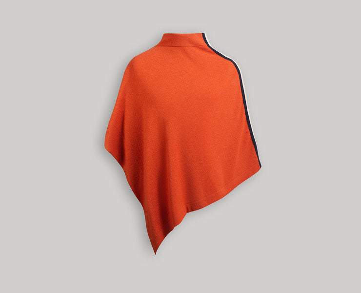 Cashmere Poncho - Striped Maple